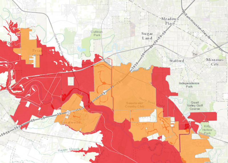 Sugar Land Area Mandatory Evacuations Map